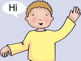 child saying hi